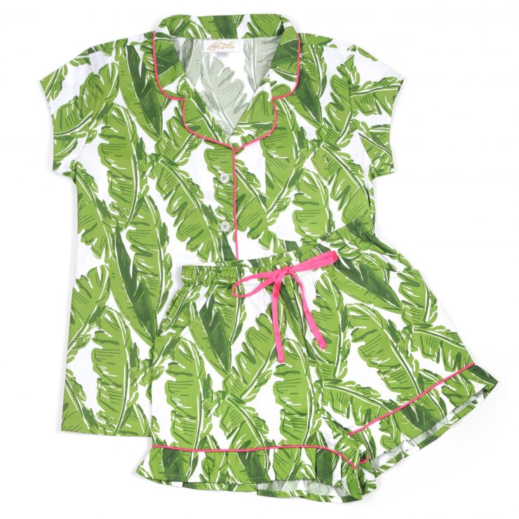 A photo of the Banana Leaf Sateen Ruffled Summer PJ Set product