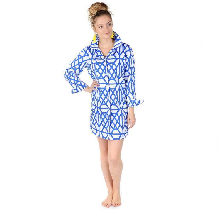A photo of the Don't Fret Blue Sateen Sleep Shirt product
