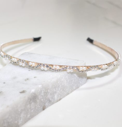 A photo of the Rhinestone Pearl Headband product