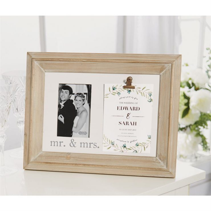 A photo of the Mr. & Mrs. Binder Clip Invitation & Picture Frame product