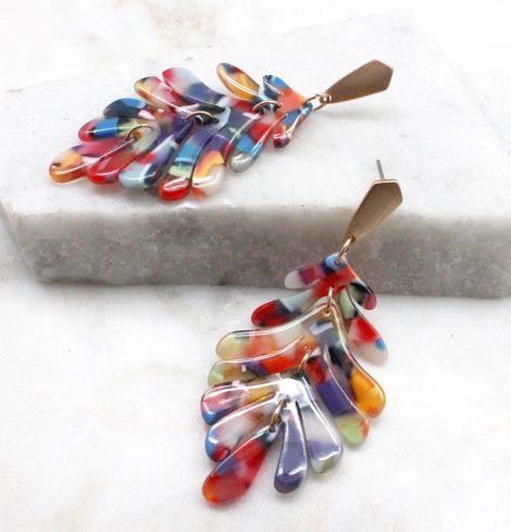 A photo of the Acrylic Leaf Earrings product