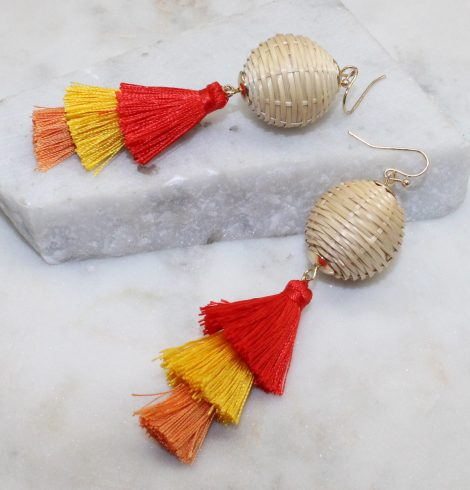 A photo of the Neva Tiered Tassel Earrings product