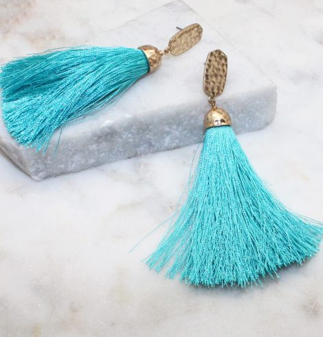 A photo of the Worth The Tassel Earrings product