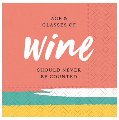 A photo of the Age and Glasses Of Wine Napkins product