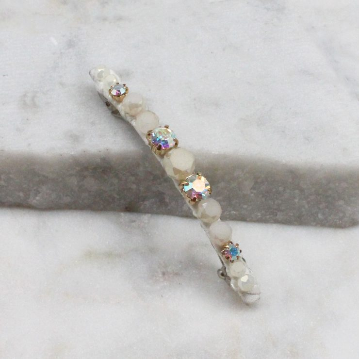 A photo of the Beaded Hair Barrette In White product