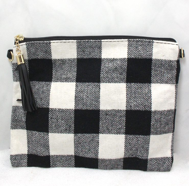 A photo of the Buffalo Check Cross Body in Black and White product