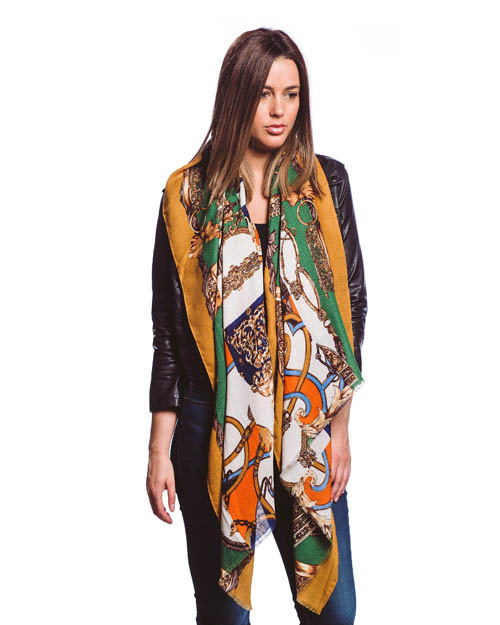 A photo of the Changing Leaves Orange Scarf product