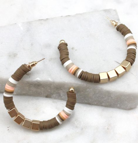 A photo of the Chocolate Mousse Hoop Earrings product