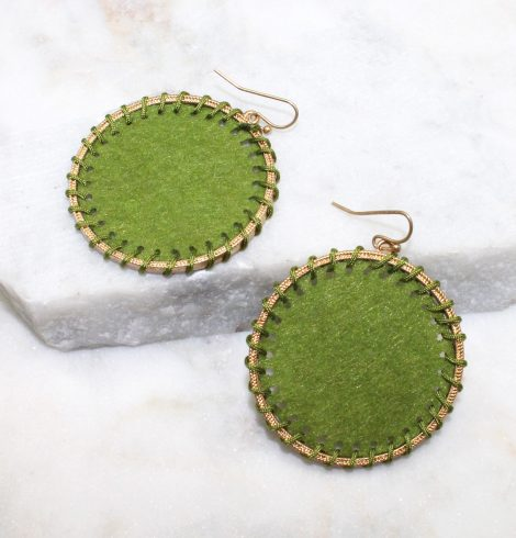 A photo of the Circling Around Earrings In Green product