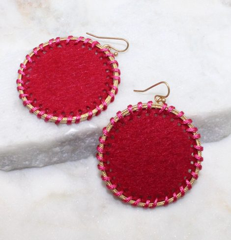 A photo of the Circling Around Earrings In Hot Pink product
