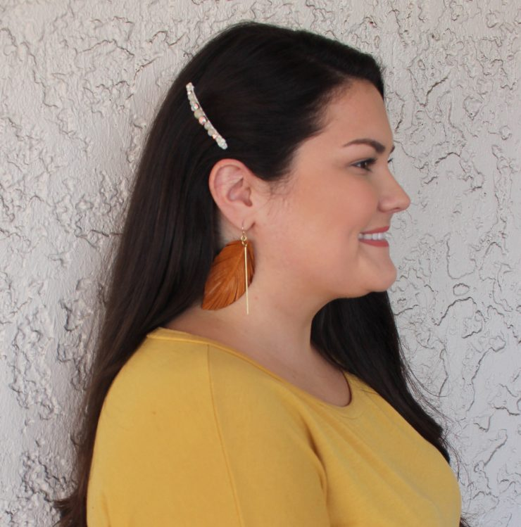 A photo of the Beaded Hair Barrette In Pink product