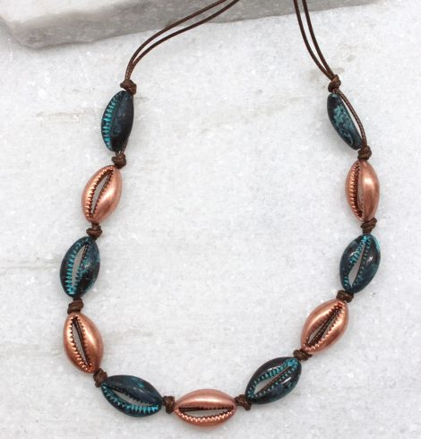A photo of the Cowrie Knotted Necklace in Rose Gold & Turquoise product