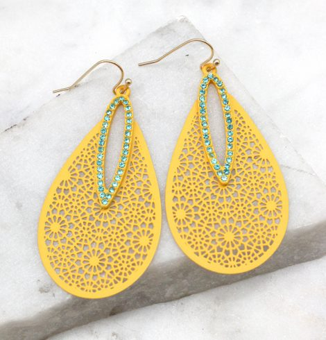 A photo of the Dazzling Cutout Earrings in Olive product