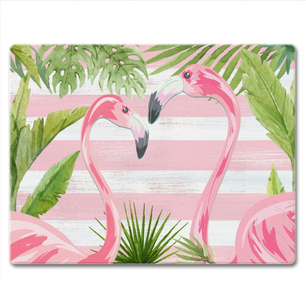 A photo of the Flamingos and Stripes Cutting Board product