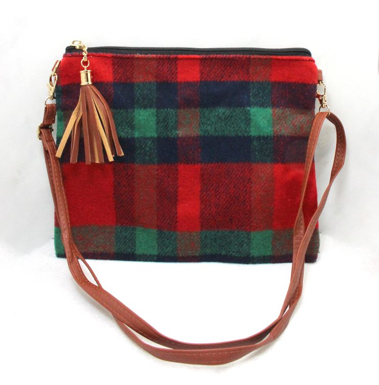 A photo of the Holiday Plaid Cross Body Purse product