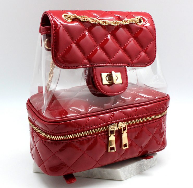 Janet Clear Backpack in Red