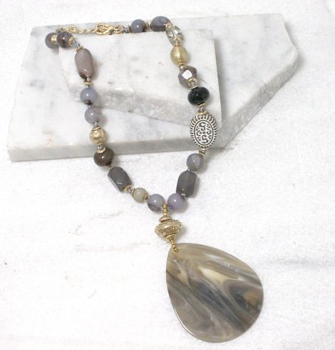 A photo of the Marbled Petal Necklace in Grey product