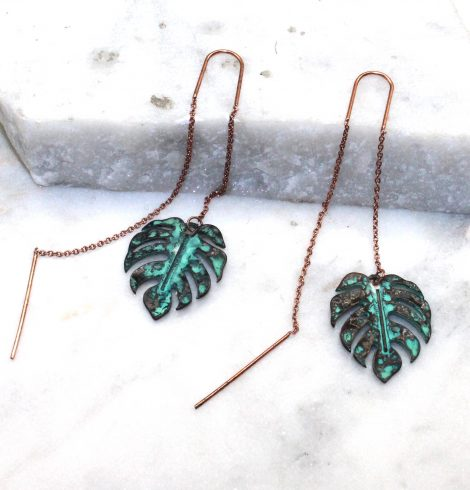 A photo of the Monstera Threader Earrings product