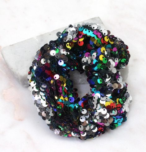 A photo of the Rainbow Sequin Hair Scrunchie product