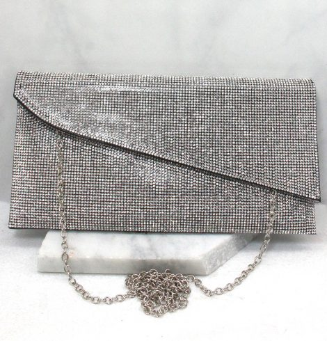 A photo of the Shimmer Rhinestone Clutch in Black product