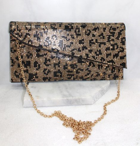 A photo of the Shimmer Rhinestone Clutch in Cheetah product