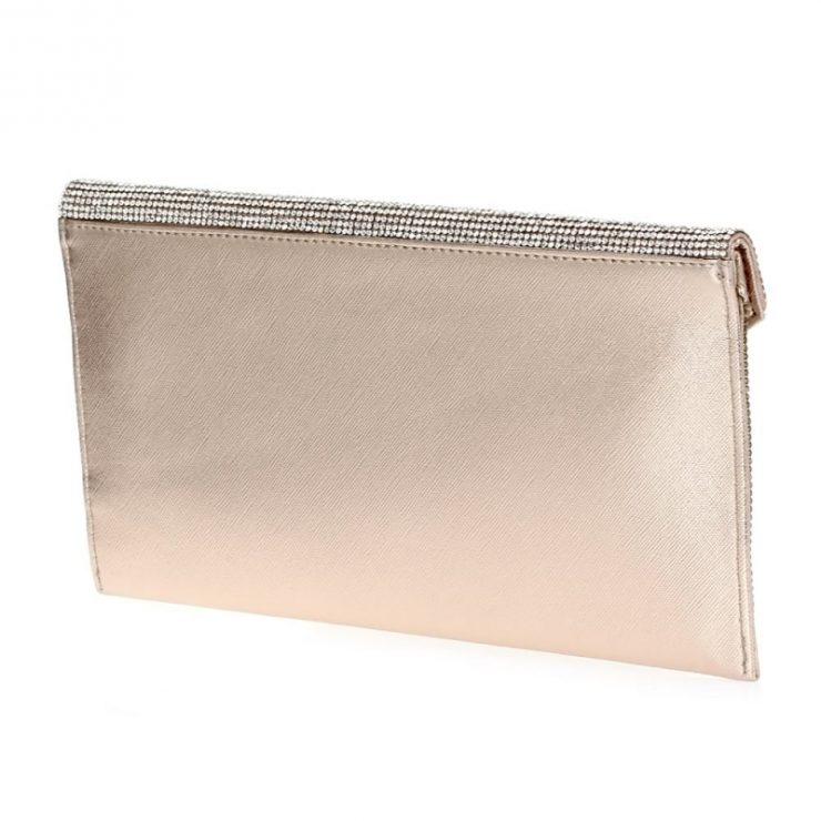 A photo of the Shimmer Rhinestone Clutch in Rose Gold product