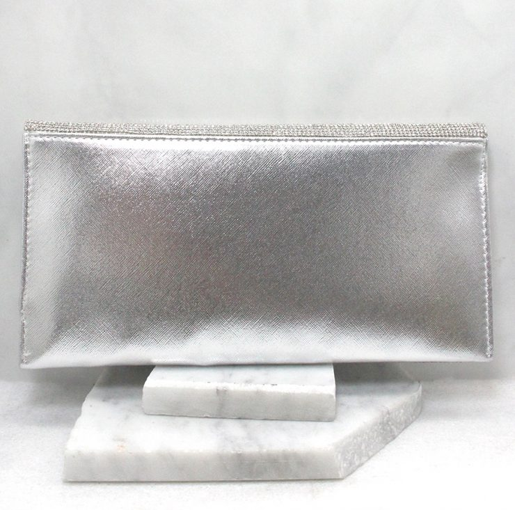A photo of the Shimmer Rhinestone Clutch in Silver product