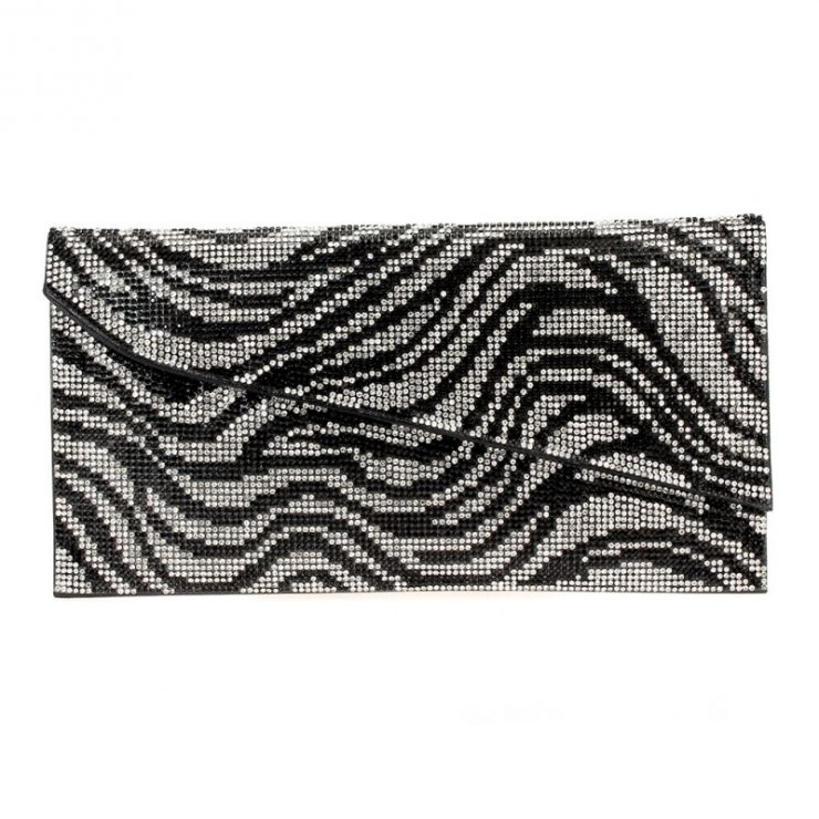 A photo of the Shimmer Rhinestone Clutch in Zebra product