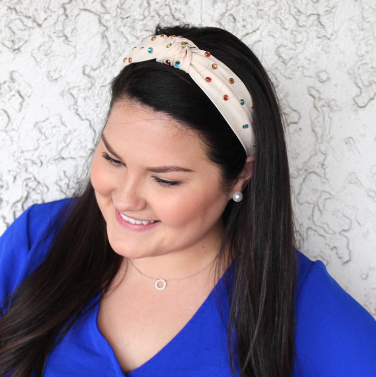 A photo of the Studs and Knots Headband in White product