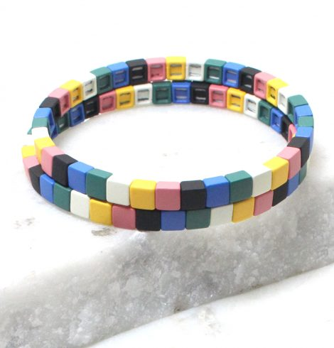 A photo of the The Basics Color Block Bracelet Set product