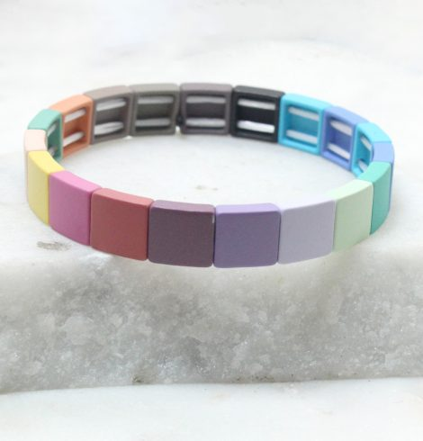 A photo of the The Bold Squares Color Block Bracelet product