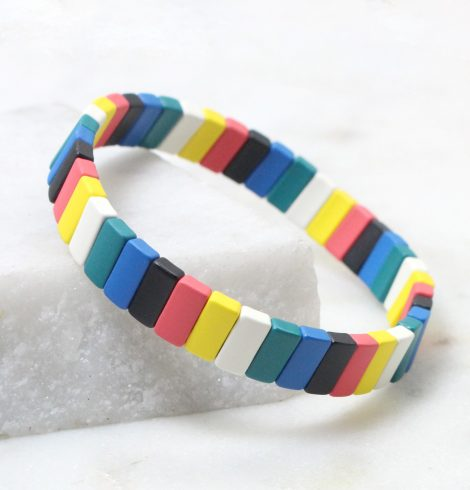 A photo of the The Brights Rectangle Color Block Bracelet product
