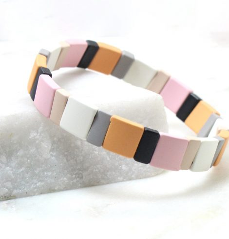 A photo of the The Dreamsicle Pieces Color Block Bracelet product