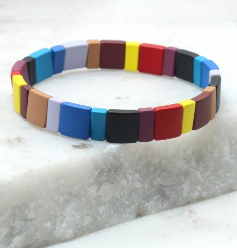 A photo of the The Shadow Rectangle Color Block Bracelet product