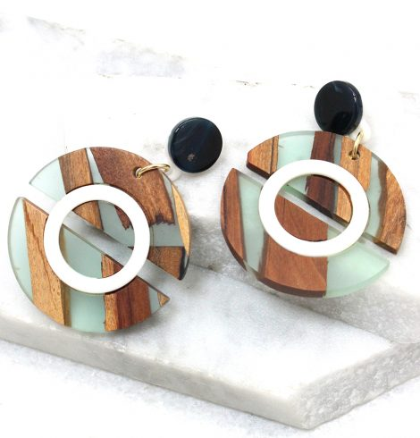 A photo of the Wooden Dial Earrings in Mint product
