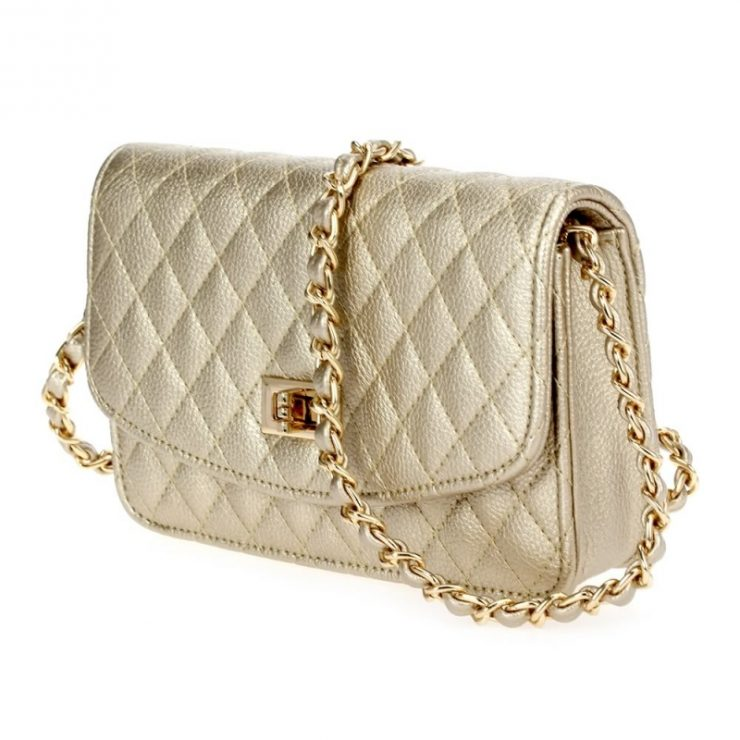 Gold Quilted Cross Body