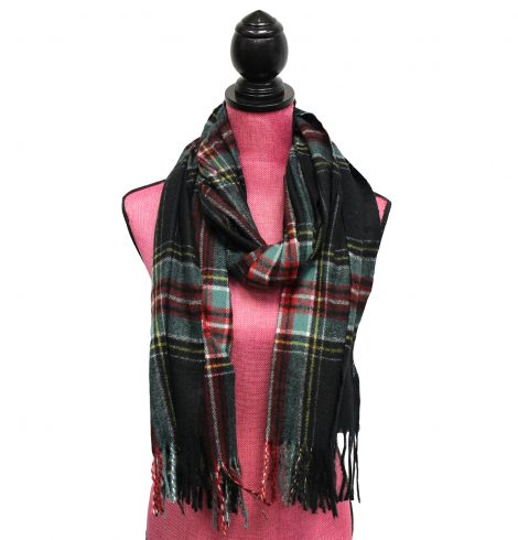 A photo of the Black Plaid Scarf product