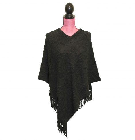 Textured Poncho in Black
