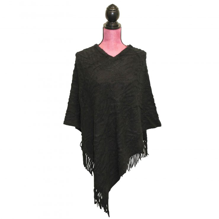 A photo of the Textured Poncho in Black product