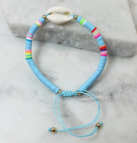 A photo of the Cowrie Shell Adjustable Bracelet In Blue product