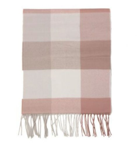 A photo of the Blush Squares Cashmere Feel Scarf product