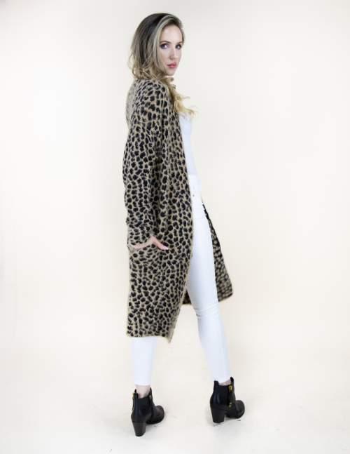 A photo of the Eyelash Cheetah Print Sweater product