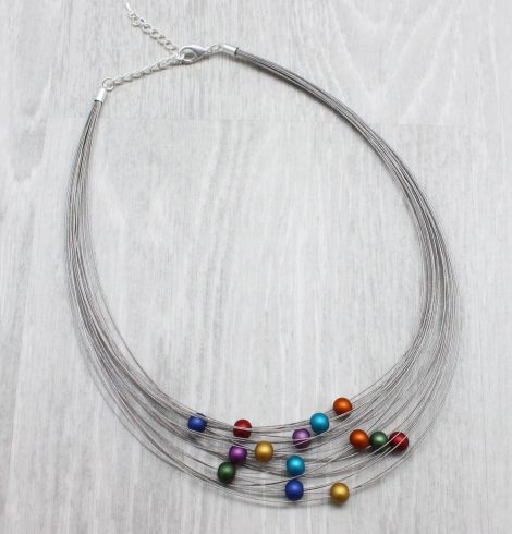 A photo of the Colorful Spheres Necklace product