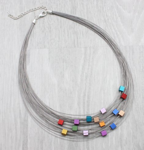 A photo of the Colorful Squares Necklace product
