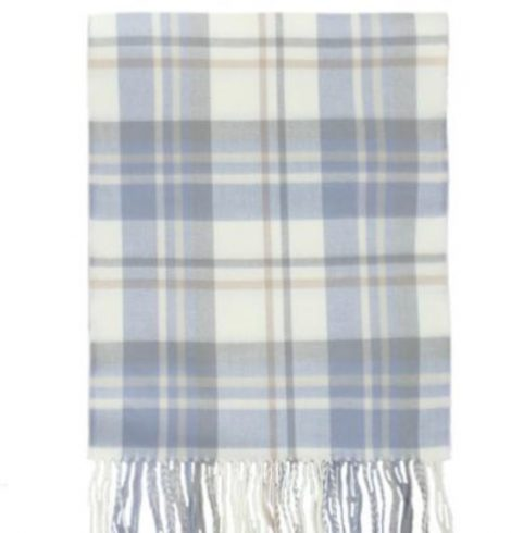 A photo of the Dusty Blue Plaid Cashmere Feel Scarf product