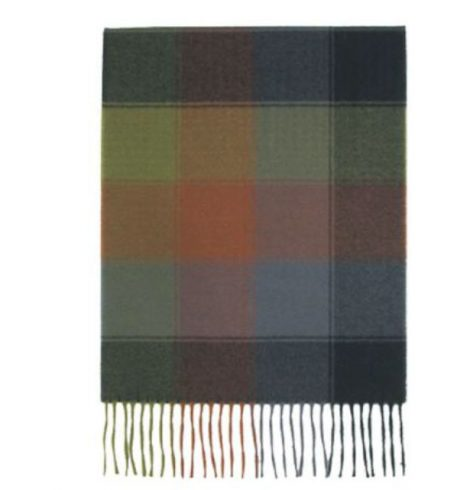 A photo of the Earth Tone Squares Cashmere Feel Scarf product