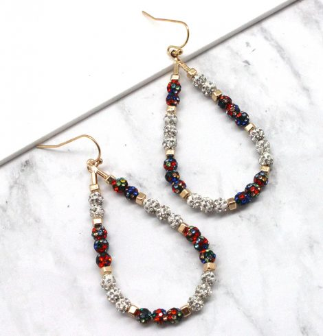 A photo of the Fireball Teardrop Hoops in Multi Color product
