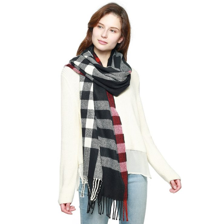 A photo of the Fresh Plaid Scarf in Black product