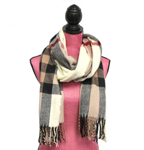 A photo of the Fresh Plaid Scarf in Creme product