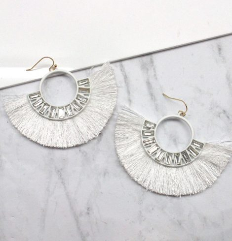 A photo of the Full Fan Earrings in White product